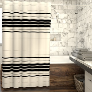 Porch & Den Wheeler Genoa Horizontal Stripe Fabric Shower Curtain