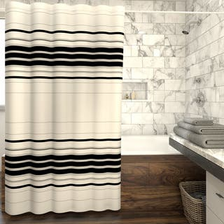 Porch Den Wheeler Genoa Horizontal Stripe Fabric Shower Curtain