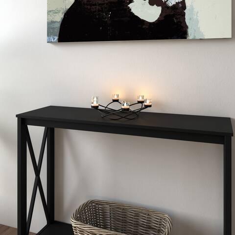 Porch & Den Ardsley Round Waves Black Wrought Iron Candleholder/ Centerpiece