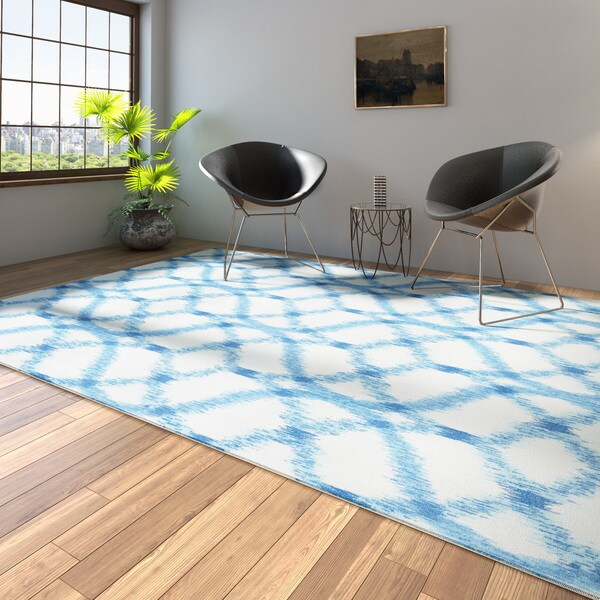 Porch & Den Greenpoint Moultrie Light Blue Trellis Ikat Aegean Indoor/ Outdoor Area Rug - 7'9 x 10'10
