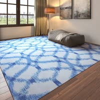 Porch & Den Greenpoint Moultrie Light Blue Trellis Ikat Aegean Indoor/ Outdoor Area Rug - 10' x 13'