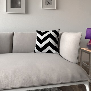Porch & Den Benson Jonquil Zigzag Black White Feather-filled 18-inch Throw Pillow
