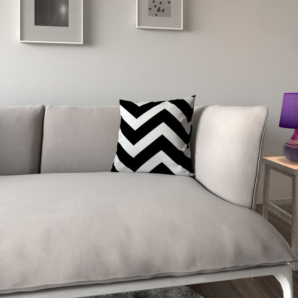 Porch & Den Jonquil Zigzag Black White Feather-filled 18-inch Throw Pillow