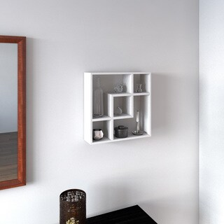 Porch & Den Alexander White Geometric Square Wall Shelf with Five Openings