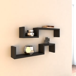 Porch & Den Patton Black 'S' Wall Mount Shelves (Set of 2)