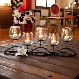 Porch & Den Montclair Oxford Wavy Iron and Glass Hurricane Candleholder for Five Candles