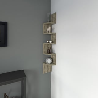 Porch & Den Montclair Laurel Large Weathered Oak Laminate Corner Wall Mount Shelf