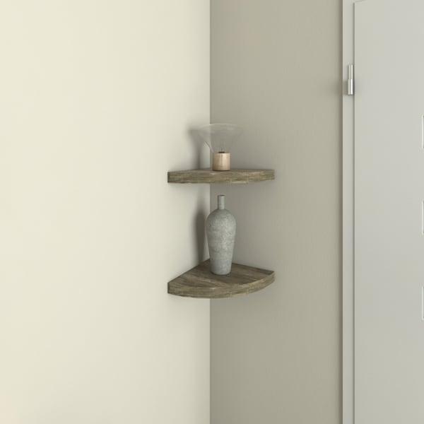 Porch & Den Jerome Rustic Weathered Oak Corner Radial Shelves (Set of 2)