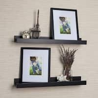 Porch & Den Montclair Vera Black Ledge Shelves with Photo Frames (Set of 2)