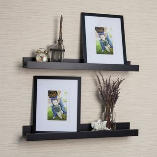 Porch & Den Montclair Vera Black Ledge Shelves with Photo Frames (Set of 2)