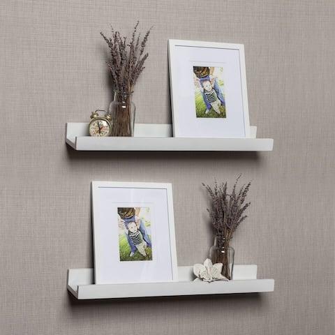 Porch & Den Vera White Ledge Shelves with Photo Frames (Set of 2)