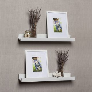 Porch & Den Vera White Ledge Shelves with Photo Frames (Set of 2)