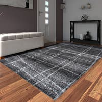 Porch & Den Williamsburg Hope Trellis Stripes Grey Area Rug - 5' x 8'