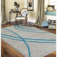 Porch & Den Marigny Rampart Soft Stripe Turquoise Grey Indoor Shag Area Rug - 3'3 x 5'