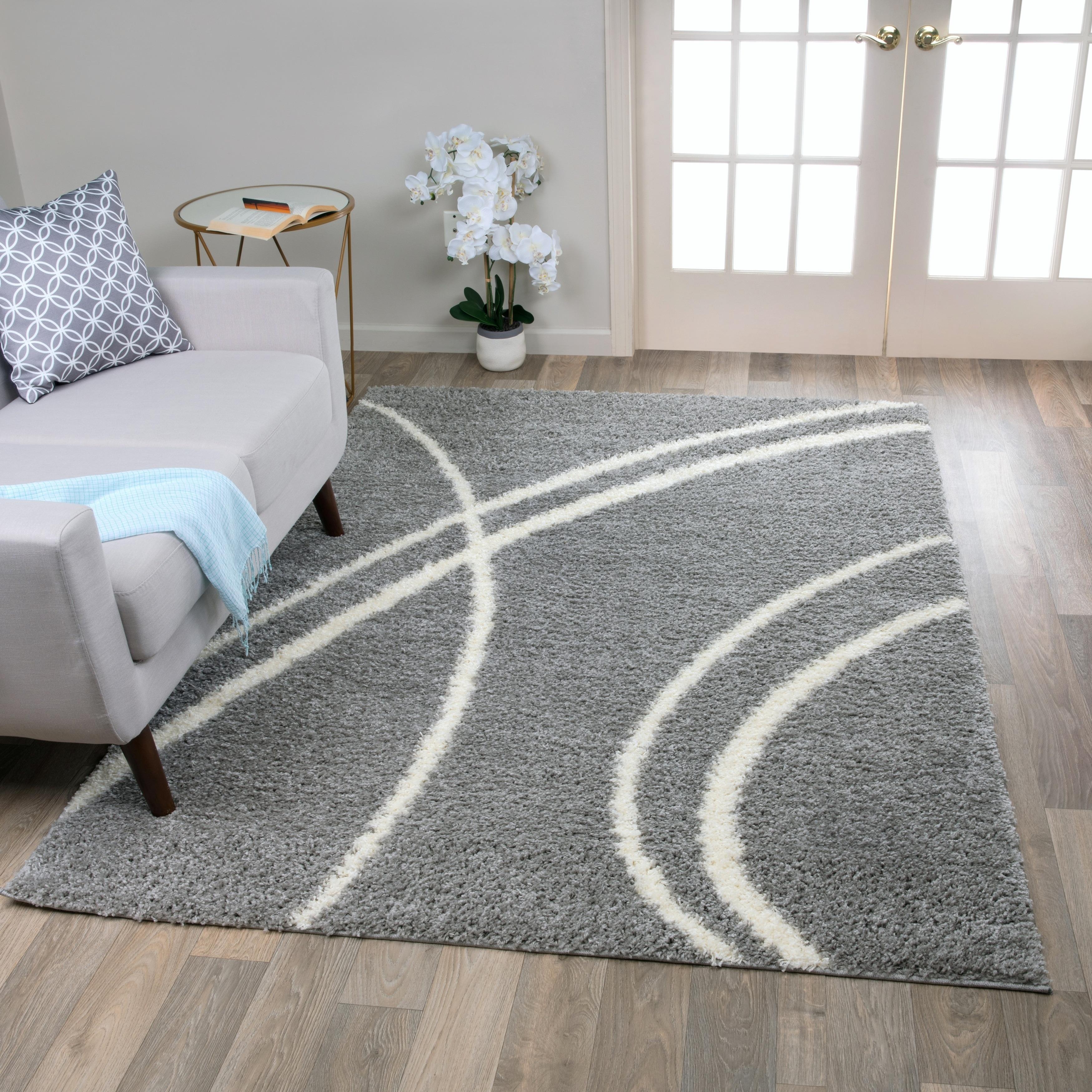 Porch Den Rampart Soft Stripe Light Grey White Indoor Area Rug 3 X 5