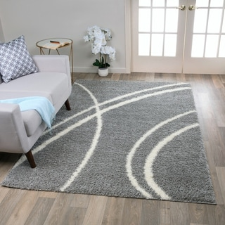 """Porch & Den Rampart Soft Stripe Light Grey White Indoor Shag Area Rug - 3'3"""" x 5'"""