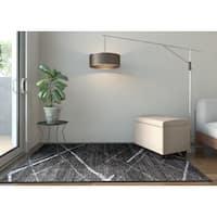 Porch & Den Williamsburg Hope Contemporary Striped Dark Grey Area Rug - 4' x 6'
