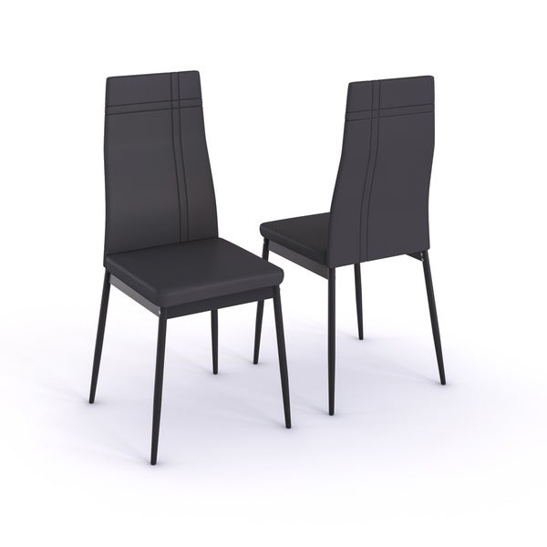 Porch U0026 Den LoDo Larimer Grey Faux Leather Dining Chairs (Set Of 2)   Free  Shipping Today   Overstock.com   18677642