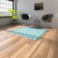 Porch & Den Greenpoint Calyer Blue/ Ivory Poolside Indoor/ Outdoor Area Rug - 5'3 x 5'3