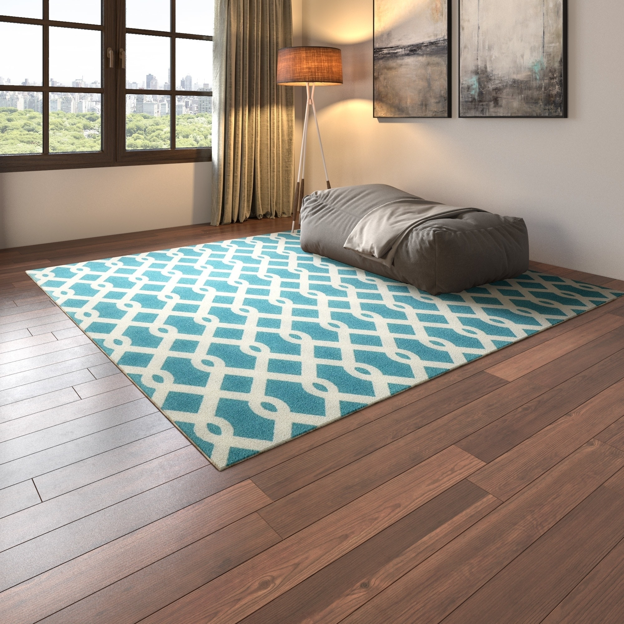 Outdoor Pool Area Rugs: Havenside Home New Castle Blue/ Ivory Poolside Indoor