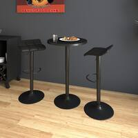 Porch & Den Botanical Heights Blaine Black Adjustable Height Round Bar Table Set
