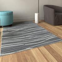 Porch & Den Somerville Newbury Grey Rectangle Plush Indoor Area Rug - 3'7 x 5'6