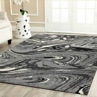 Porch & Den Somerville Dartmouth White/ Black/ Grey Olefin Area Rug (7'9 x 9'5)