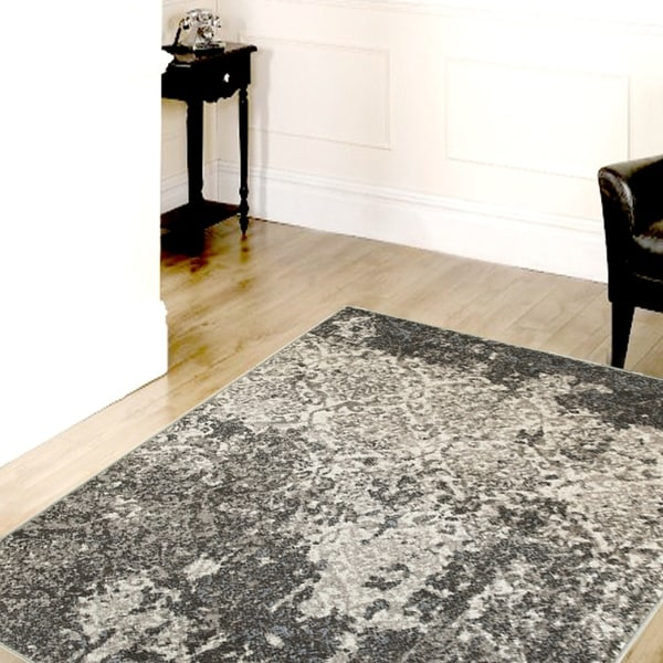 Porch & Den Somerville Wesley Stone/ Silver/ Blue Olefin Indoor Area Rug - 7'9 x 9'5