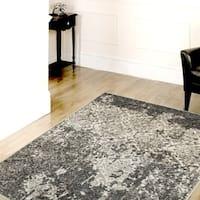 Porch & Den Somerville Wesley Stone/ Silver/ Blue Olefin Indoor Area Rug (7'9 x 9'5)