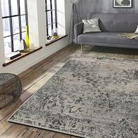 Porch & Den Somerville Otis Stone and Titanium Olefin Indoor Area Rug - 7'9 x 9'6