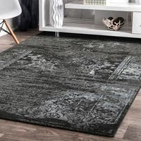 Porch & Den Somerville Everett Jet Black/ Titanium Indoor Area Rug - 7'9 x 9'5 - 7'9 x 9'6