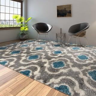 Porch & Den Marigny Touro Trellis Grey/ Blue Area Rug - 9' x 12'
