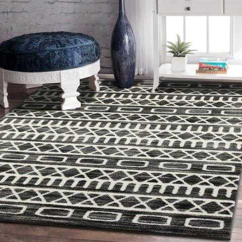 Porch & Den Bonair Titanium and Gardenia Olefin Area Rug - 5'2 X 7'2