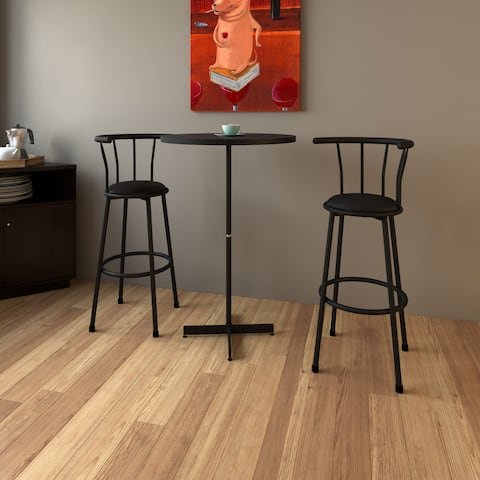 Porch & Den Vandeventer Black Metal 3-piece Bar Height Stool and Table Set