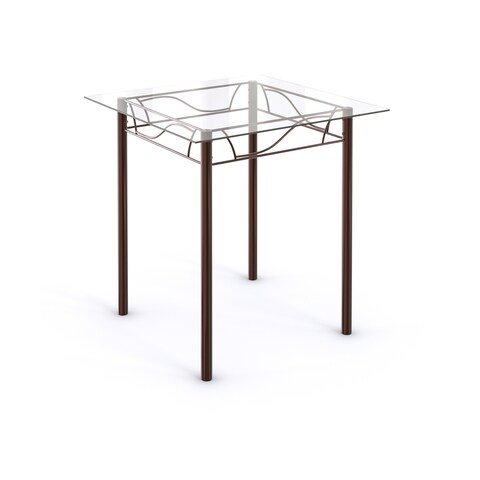 Porch & Den LoDo Wazee Bronze Metal Tempered Glass Top Square Kitchen Dinette Table