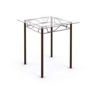 Porch & Den Avondale Bronze Metal Tempered Glass Top Square Kitchen Dinette Table