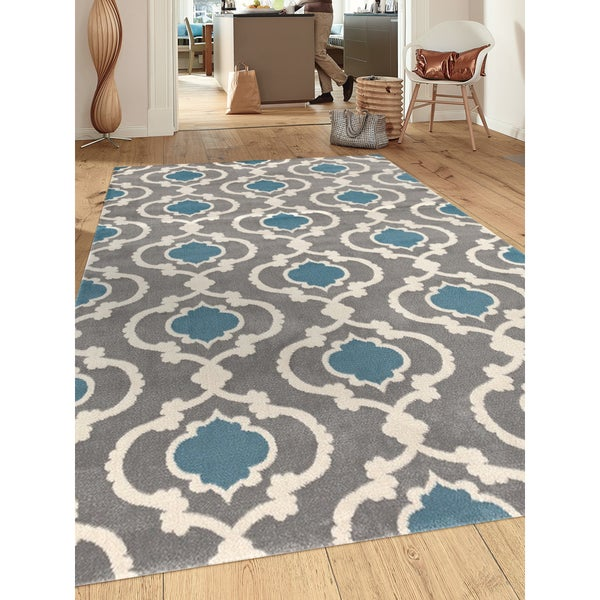 Beautiful Porch U0026amp; Den Marigny Touro Trellis Grey/ Blue Area Rug (7u0026#x27