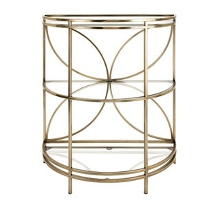 Benzara Teagan Goldtone Metal Console With Floral Design