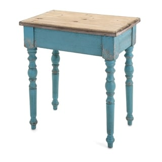 Benzara Claremore Blue/Brown Wood Accent Table