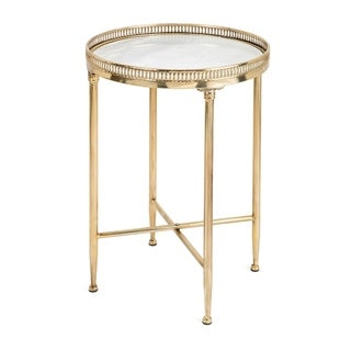 Benzara Circular Jocelyn Goldtone Metal White Marble Top Occasional Table