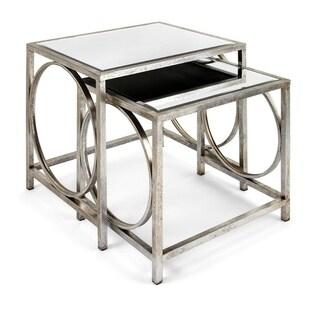 Benzara Grant Silver Mirror Tables (Set of 2)