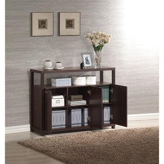 Hill Console Table with open compartment and shelves, Espresso