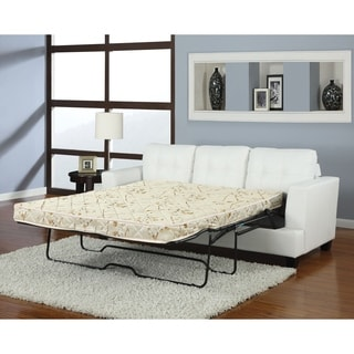 Benzara Platinum White Leather Upholstery Sofa With Queen Sleeper Part 61