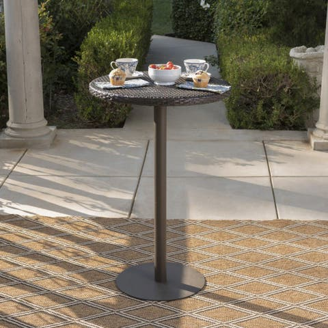 Dominica Outdoor 23-inch Round Wicker Bar Table by Christopher Knight Home