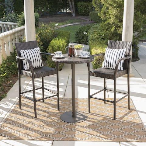 Stella Outdoor 3-piece Wicker 26-inch Round Bar Set by Christopher Knight Home