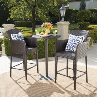 Brooklyn Outdoor 3-piece Wicker 26-inch Round Bar Set by Christopher Knight Home