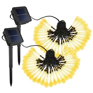 Solar Outdoor String Lights,30 LED Water Drop Solar String Fairy Waterproof Lights Christmas Lights