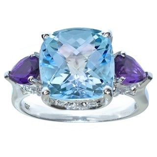 Sterling Sliver with Cushion Cut Sky Blue Topaz and Amethyst Pear Cut with Topaz accents ring