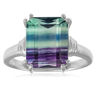 Sterling Silver 5.17ct Octagon Fluorite Solitaire