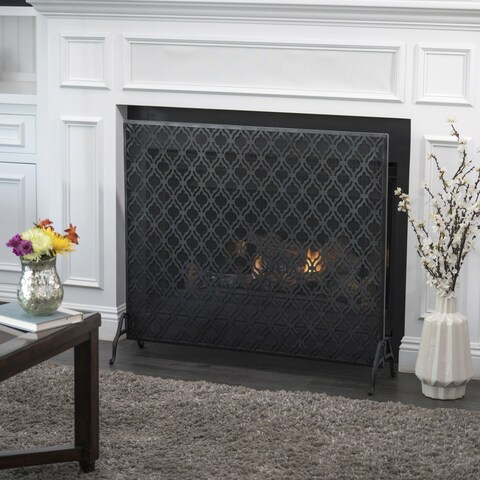 Ellias Single Panel Iron Fireplace Screen by Christopher Knight Home